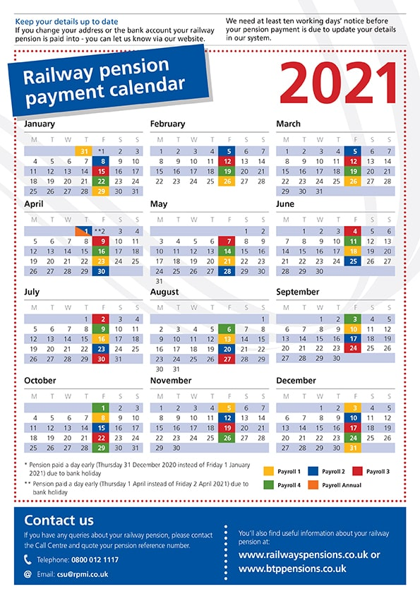 Pension payment calendar for 2021