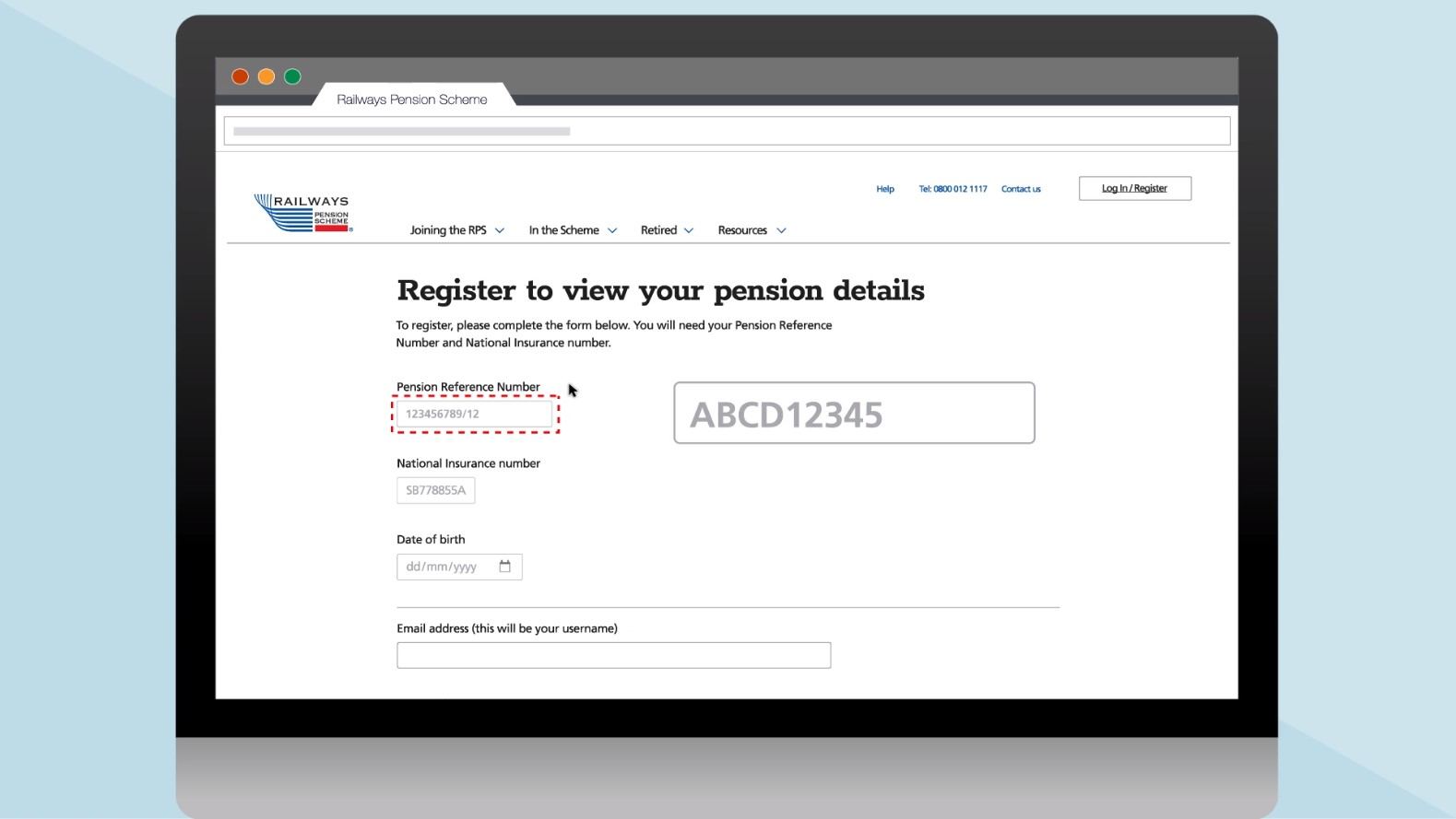 pension reference number