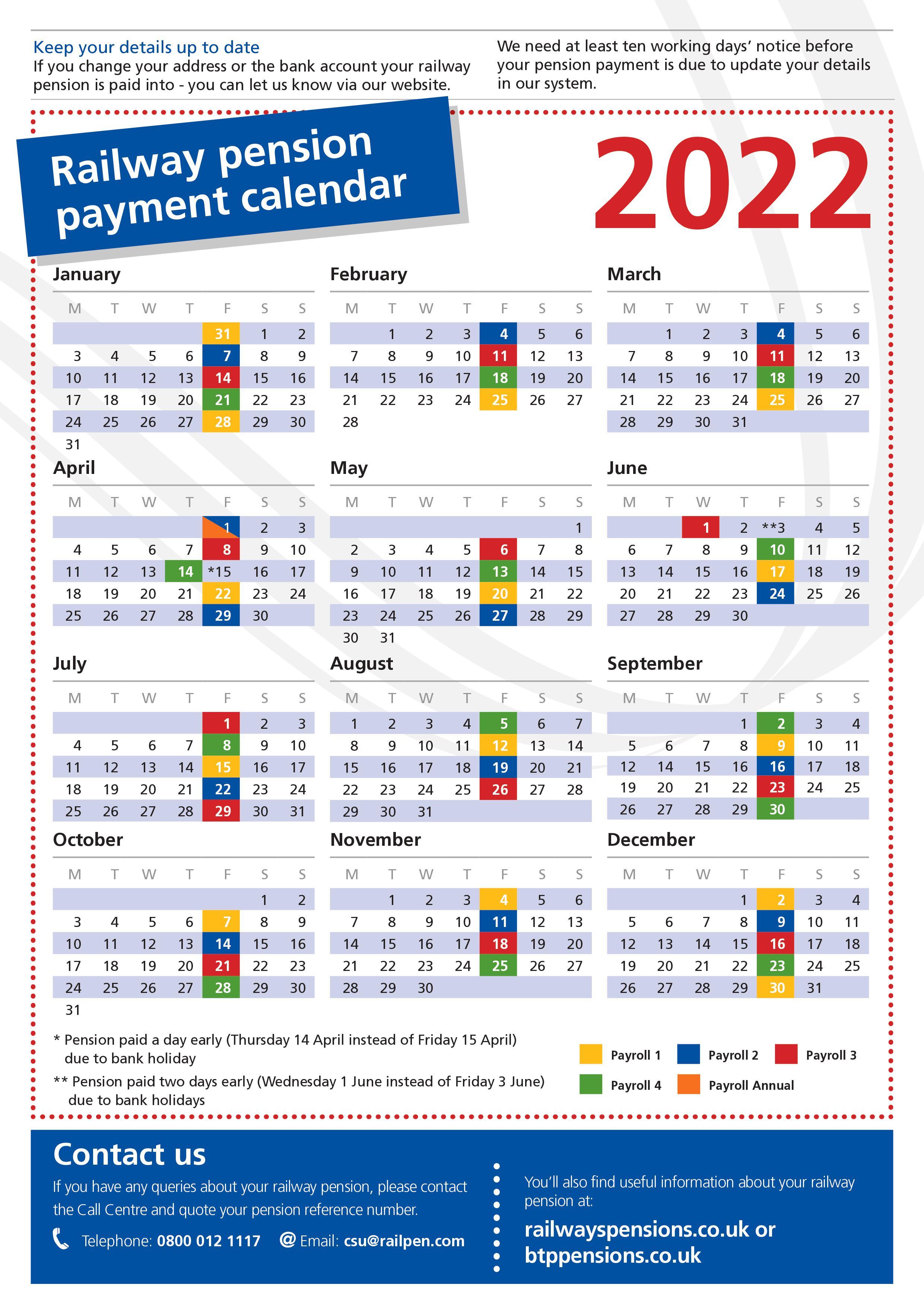 2022 pension payment calendar