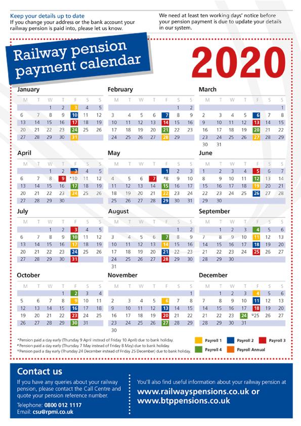 2020 pension payment calendar